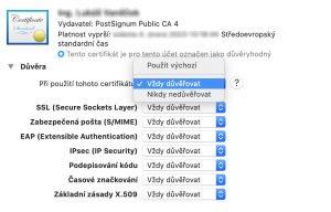 certifikát Vždy důvěřovat Mac OS - Elektronický podpis